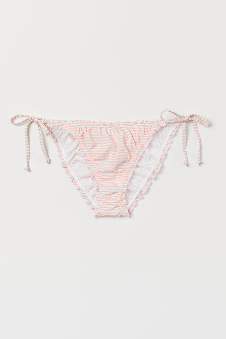 Scrunch bikini bottoms - Light pink/White striped - Ladies | H&M