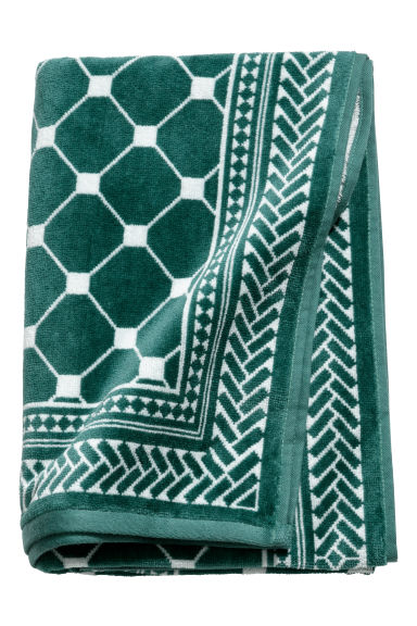 Jacquard-weave bath towel - Green/White patterned - Home All | H&M GB
