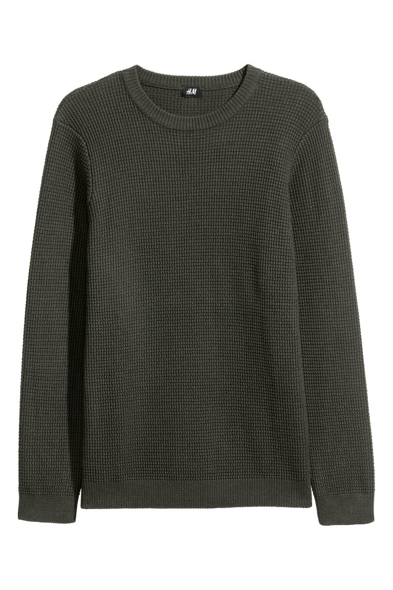 Textured-knit jumper - Dark khaki green - Men | H&M CN