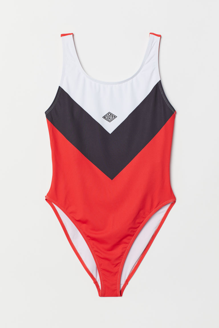 Patterned swimsuit - Bright red/Block-coloured -  | H&M IE