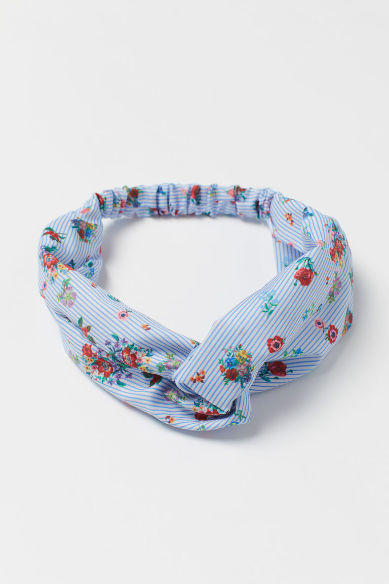 Patterned satin hairband - White/Blue striped - Kids | H&M