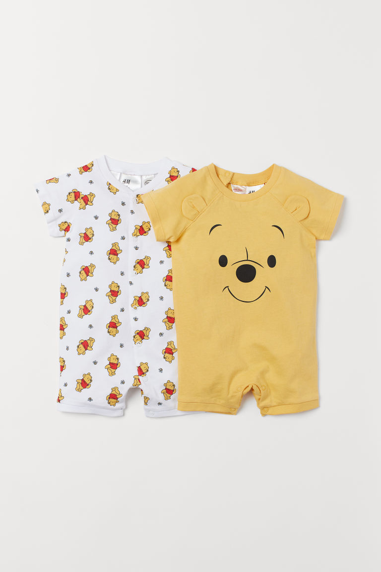 2-pack cotton pyjamas - Yellow/Winnie the Pooh - Kids | H&M IN