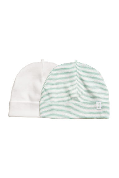 2-pack hats - White/Green striped - Kids | H&M