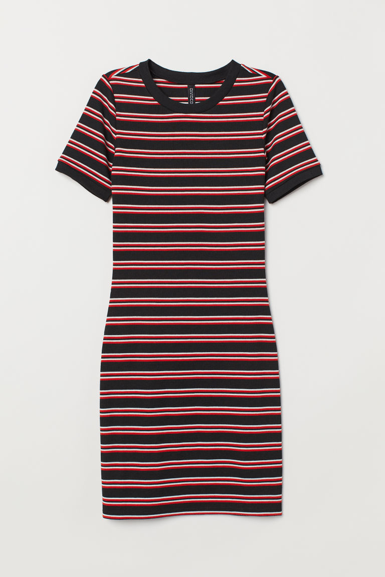 Jersey dress - Black/Red striped - Ladies | H&M GB