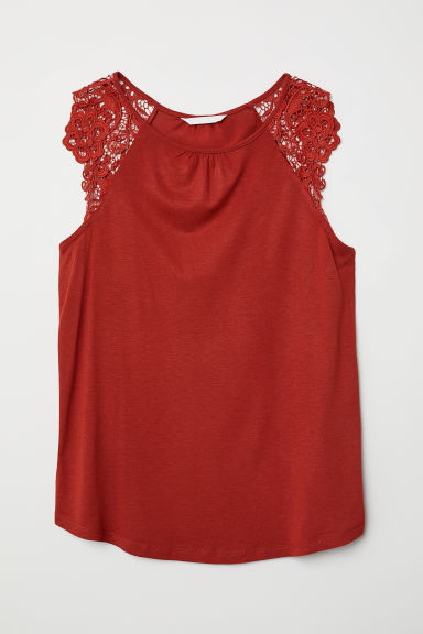 Jersey top with lace - Rust red - Ladies | H&M