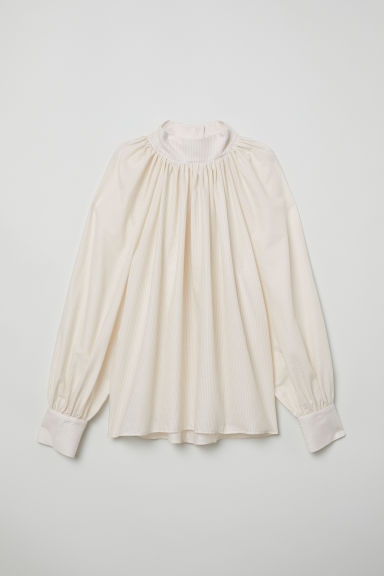 Balloon-sleeved blouse - Light beige/White striped - Ladies | H&M GB
