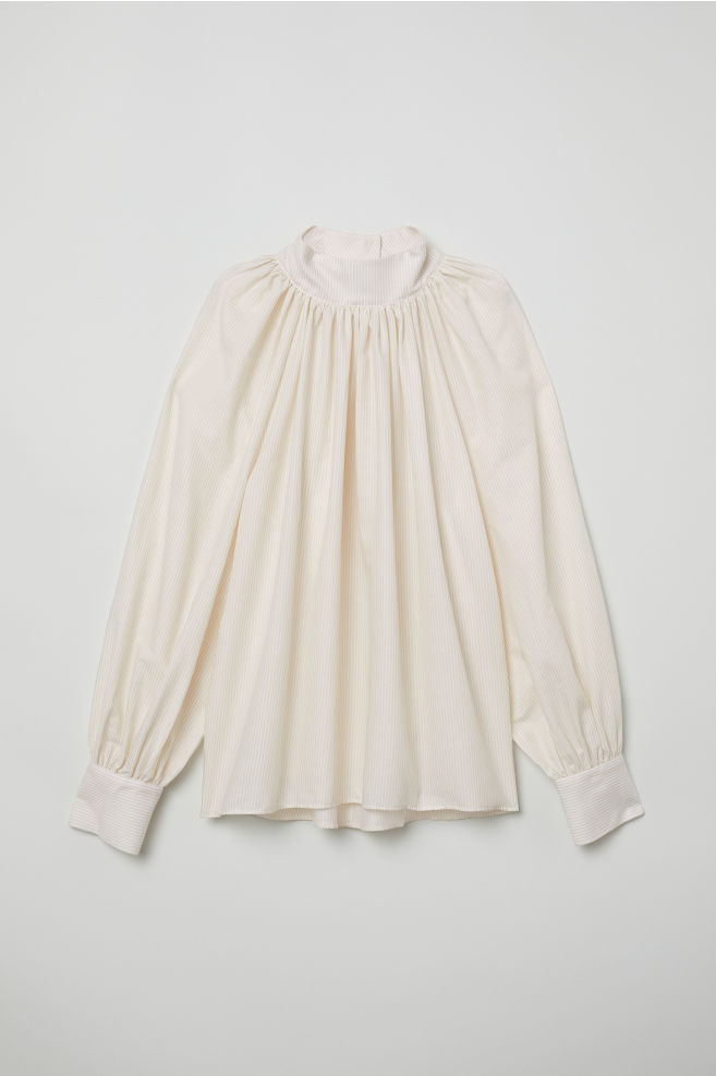6e6c571e84fb32 Balloon-sleeved Blouse - Light beige white striped - Ladies