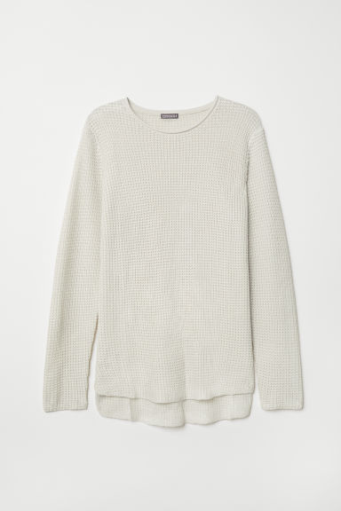 Textured-knit jumper - White - Men | H&M