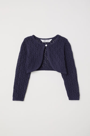Fine-knit bolero - Dark blue - Kids | H&M