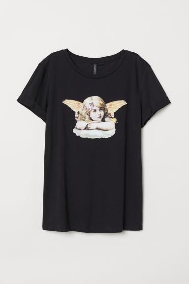 T-shirt with a motif - Black/Angel - Ladies | H&M