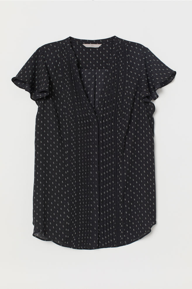 052369ccc14b99 Blouse with Pin-tucks - Black/white patterned - Ladies | H&M ...