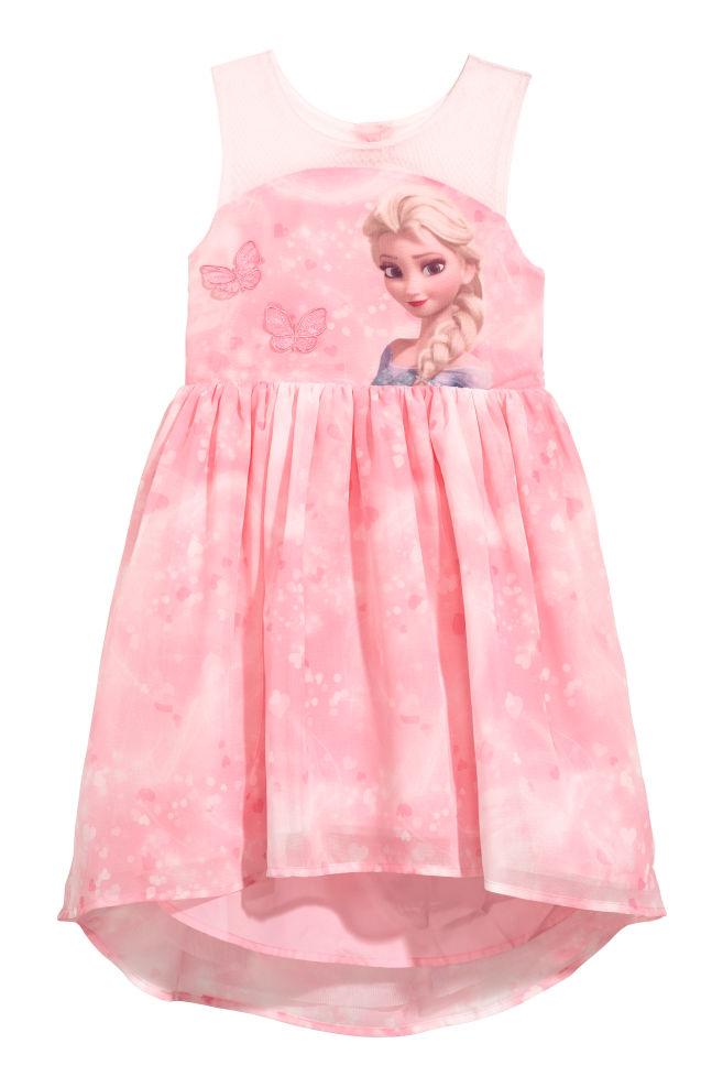 4b5ab9cf0a2256 Jurk van chiffon met print - Roze Frozen - KINDEREN