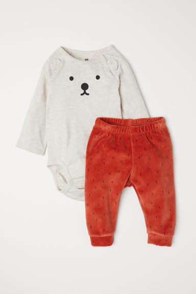 Bodysuit and trousers - Dark orange/Bear - Kids | H&M