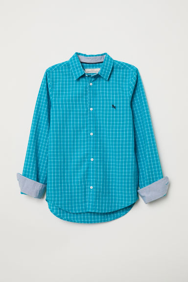 Camicia in cotone - Turchese scuro/quadri - BAMBINO | H&M IT