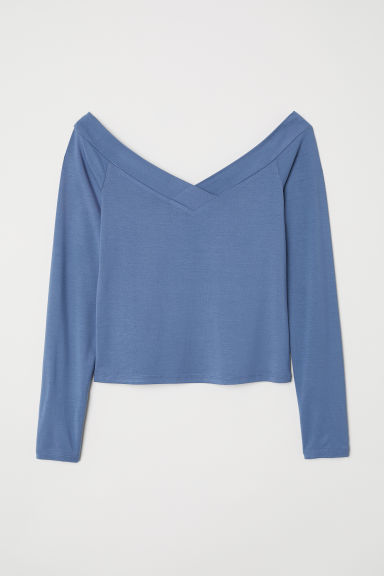 Off-the-shoulder top - Grey-blue - Ladies | H&M