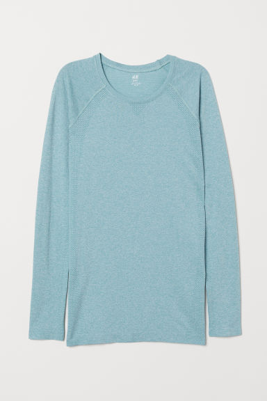 Long-sleeved sports top - Light turquoise - Ladies | H&M