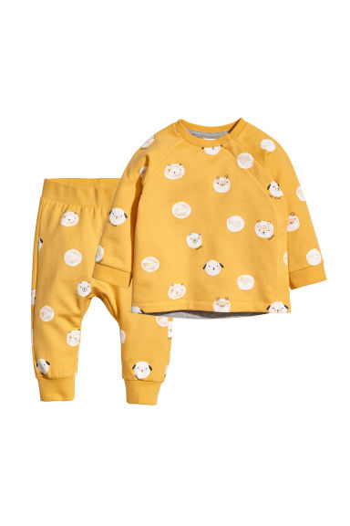 Sweat et pantalon jogger - Jaune moutarde/motif -  | H&M FR