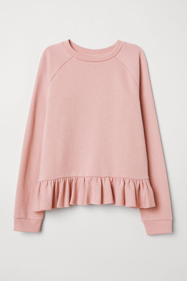 Flounced sweatshirt - Light pink - Ladies | H&M