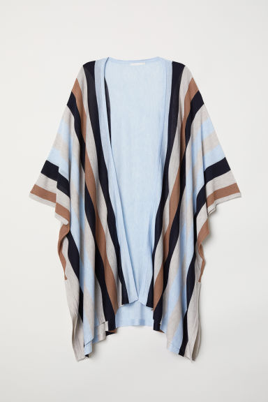 Fine-knit cardigan - Light blue/Striped - Ladies | H&M CN