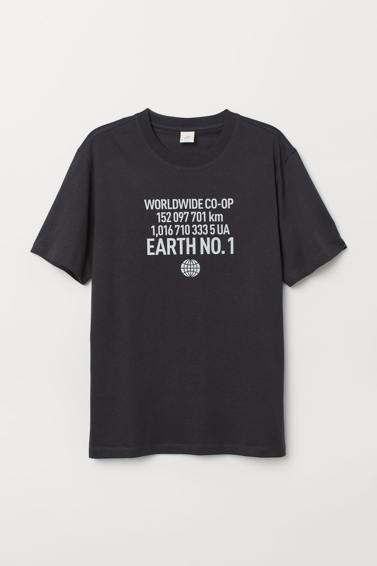 Printed T-shirt - Black/Worldwide -  | H&M IE