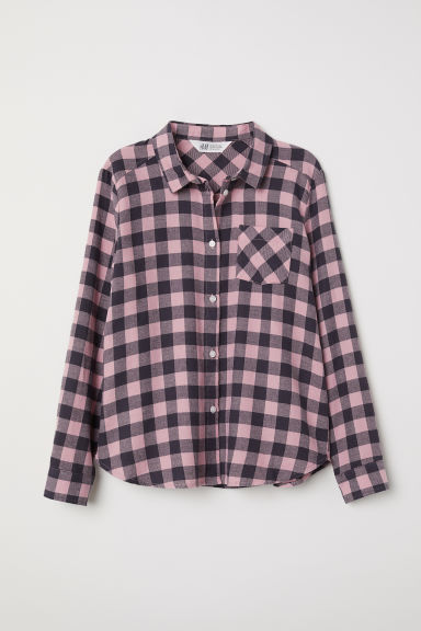 Generous Fit Flannel shirt - Pink/Checked - Kids | H&M