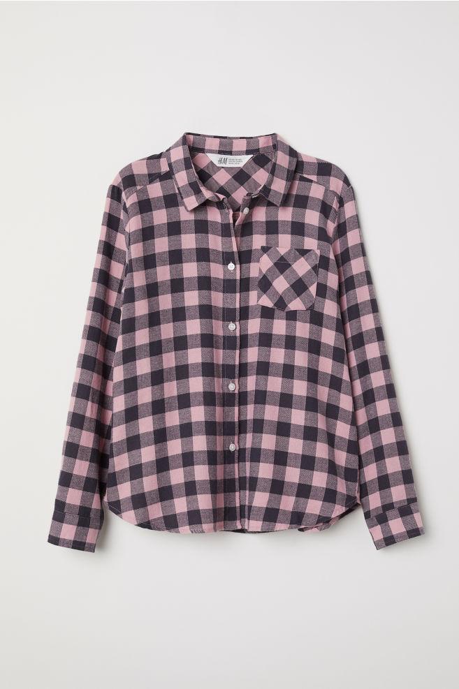Plus Size Flannel Shirt Pinkchecked Kids Hm Us