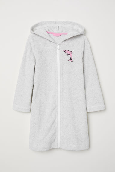 Hooded dressing gown - Light grey marl - Kids | H&M