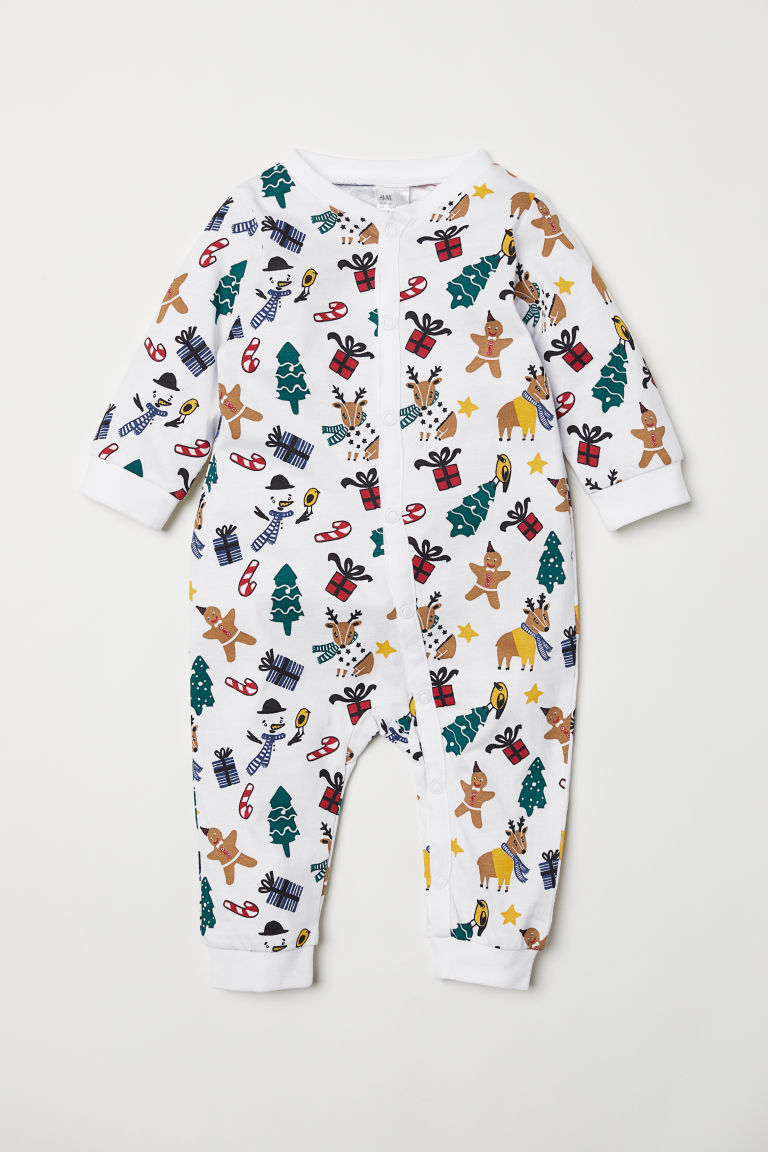 Jumpsuit with Christmas Print - White/patterned - Kids | H&M US 1