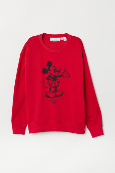 Sweatshirt with Printed Design - Red/Mickey Mouse - Ladies | H&M US