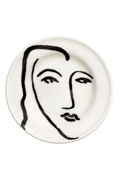 Mini plate - White/Face - Home All | H&M CN
