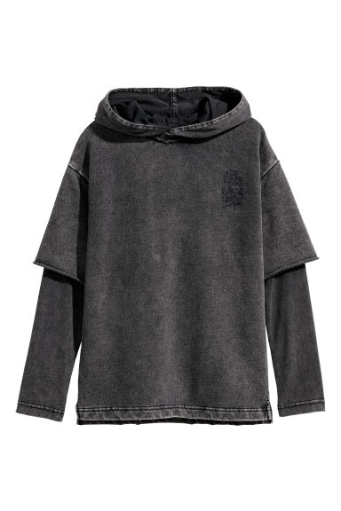 Double-sleeved hooded top - Black - Kids | H&M CN
