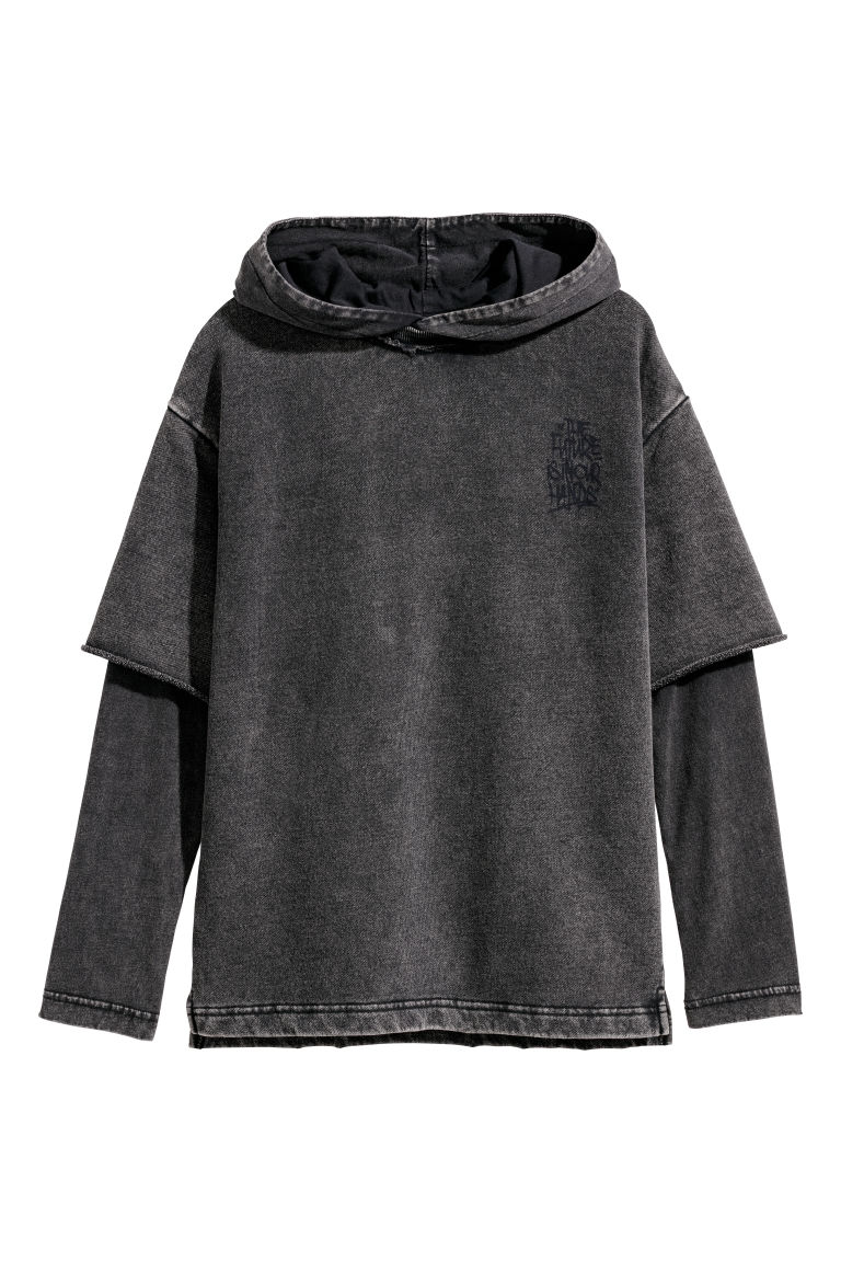 Double-sleeved hooded top - Black - Kids | H&M
