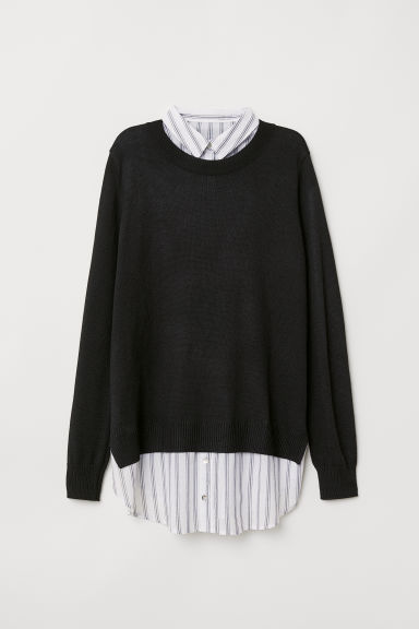 MAMA Shirt-collared jumper - Black - Ladies | H&M CN