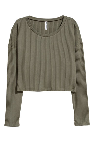Ribbed jersey top - Khaki green -  | H&M CN