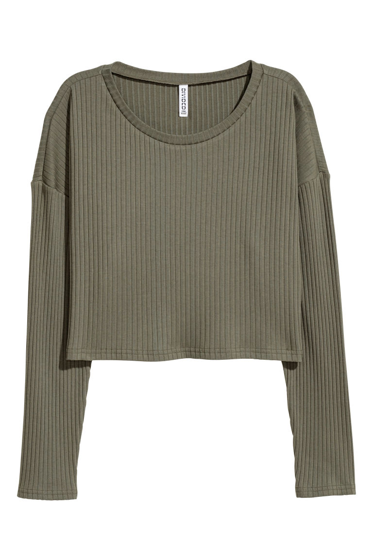 Ribbed jersey top - Khaki green - Ladies | H&M CN