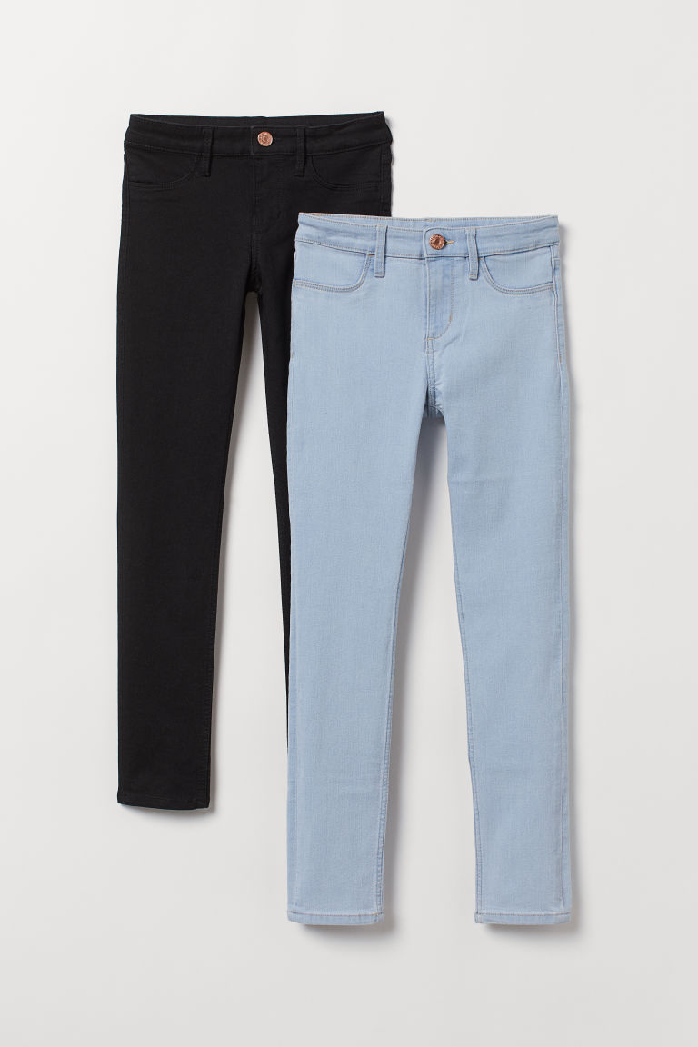 2-pack Skinny Fit Jeans - Light denim blue/Black - Kids | H&M CN