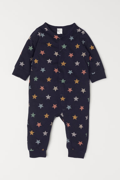 All-in-one jersey pyjamas - Dark blue/Patterned - Kids | H&M