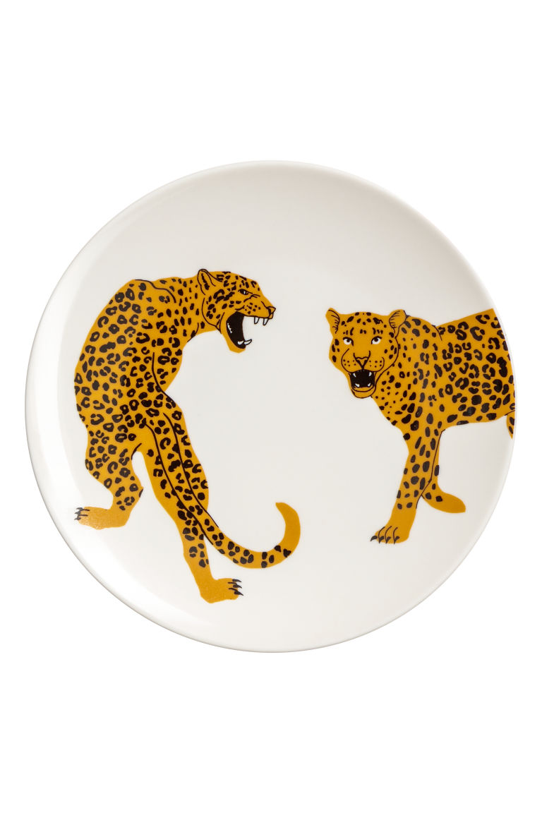 Printed porcelain plate - White/Leopards - Home All | H&M CN
