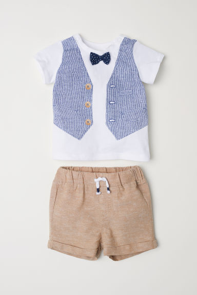 T-shirt and shorts - White/Bow tie - Kids | H&M CN