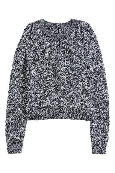 Ribbed jumper - Black/White marl -  | H&M