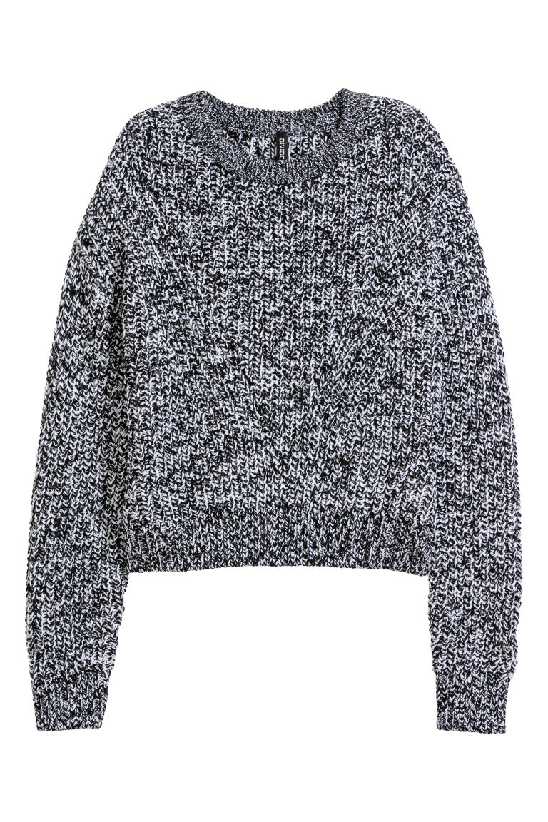 Ribbed jumper - Black/White marl - Ladies | H&M