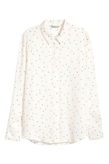 Long-sleeved blouse - White/Patterned -  | H&M