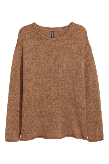 Knitted jumper - Light brown marl - Men | H&M CN