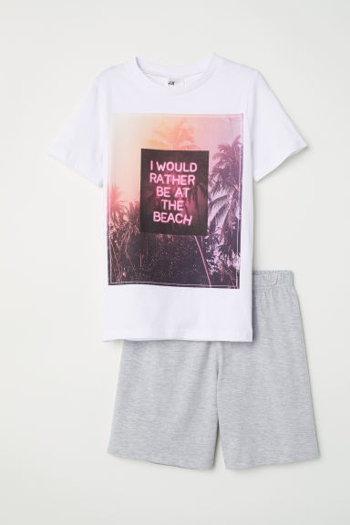 Jersey pyjamas - White/Palm trees - Kids | H&M CN