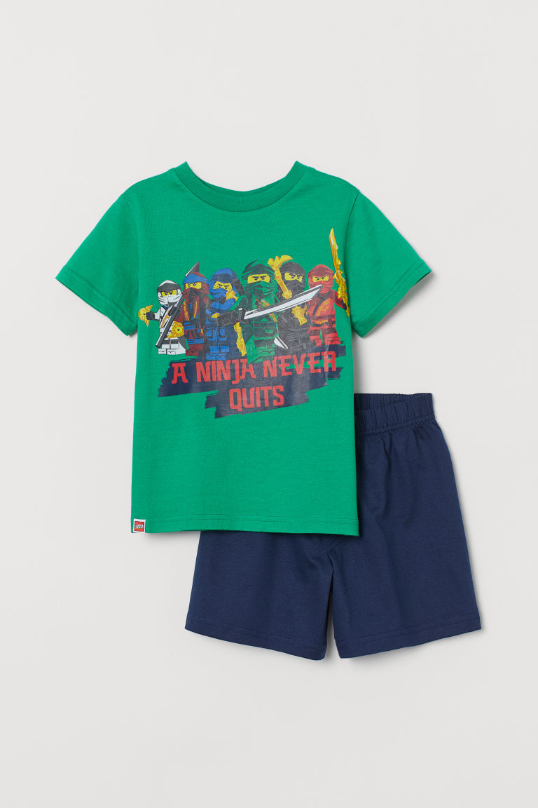 Printed pyjamas - Green/Ninjago - Kids | H&M IN