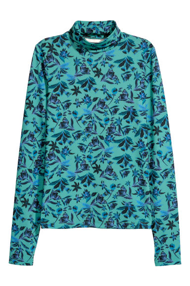 Patterned polo-neck top - Green/Patterned -  | H&M