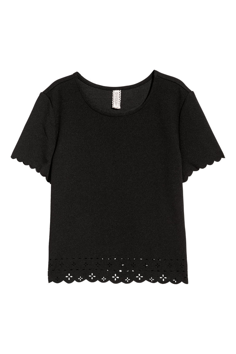 Scallop-edged top - Black - Ladies | H&M