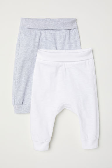 2-pack jersey trousers - Light grey/White - Kids | H&M