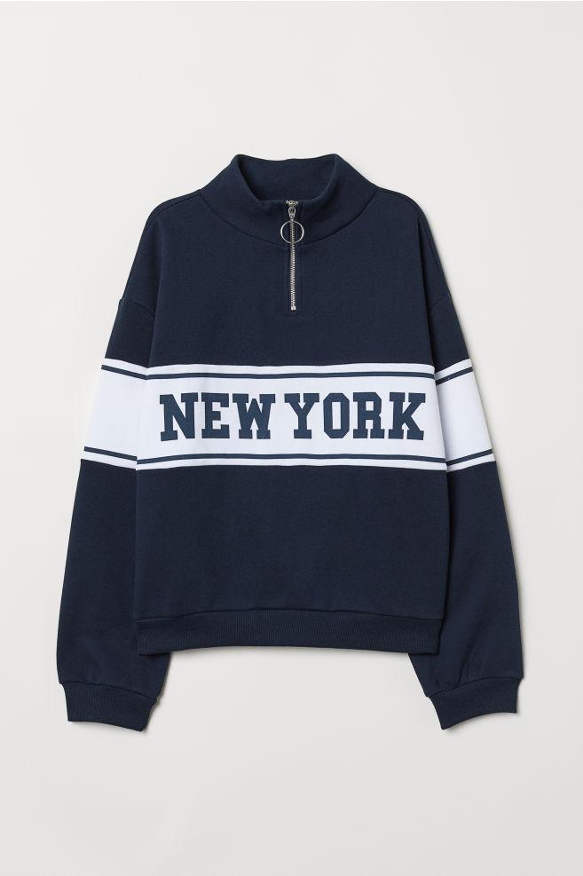 Sweatshirt with Collar - Dark blue New York - Ladies  592c5bc7f