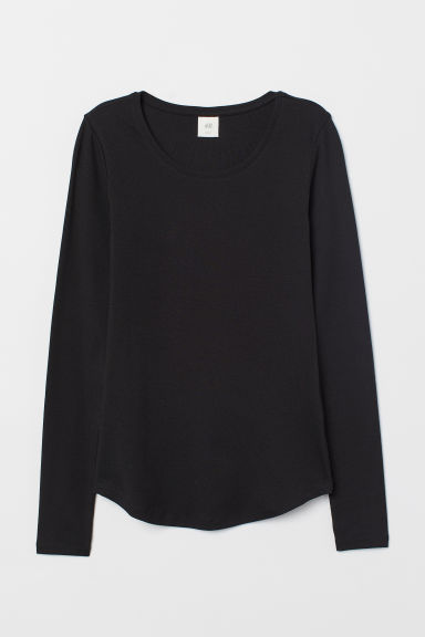 Long-sleeved jersey top - Black - Ladies | H&M GB